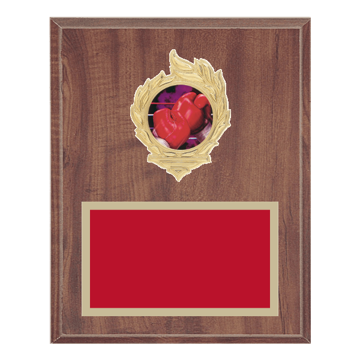 "8"" x 10"" Boxing Plaque with gold background, colored engraving plate, gold flame medallion holder and Boxing insert."