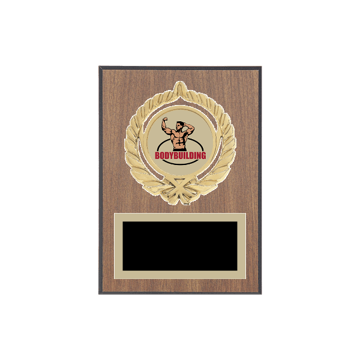 """5"""" x 7"""" Bodybuilding Plaque with gold background plate, colored engraving plate, gold open wreath medallion holder and Bodybuilding insert."""