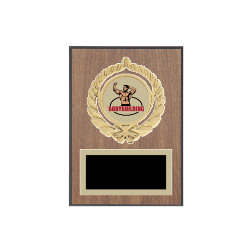 "5"" x 7"" Bodybuilding Plaque with gold background plate, colored engraving plate, gold open wreath medallion holder and Bodybuilding insert."