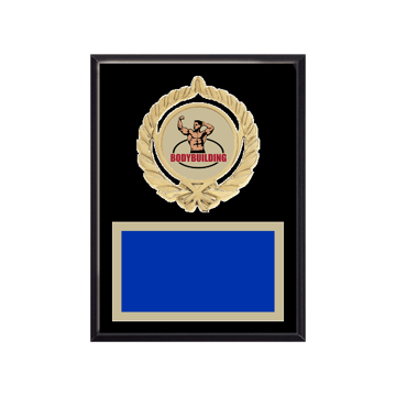 """6"""" x 8"""" Bodybuilding Plaque with gold background plate, colored engraving plate, gold open wreath medallion holder and Bodybuilding insert."""