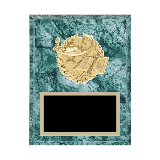 """7"""" x 9"""" Academic   Education Plaque with gold background plate, colored engraving plate and gold 3D Academic   Education medallion."""