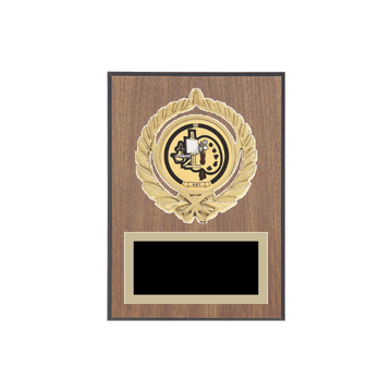 "5"" x 7"" Art Plaque with gold background plate, colored engraving plate, gold open wreath medallion holder and Art insert."