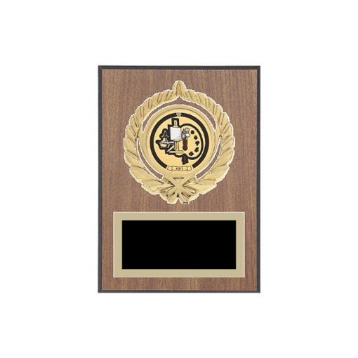 """5"""" x 7"""" Art Plaque with gold background plate, colored engraving plate, gold open wreath medallion holder and Art insert."""