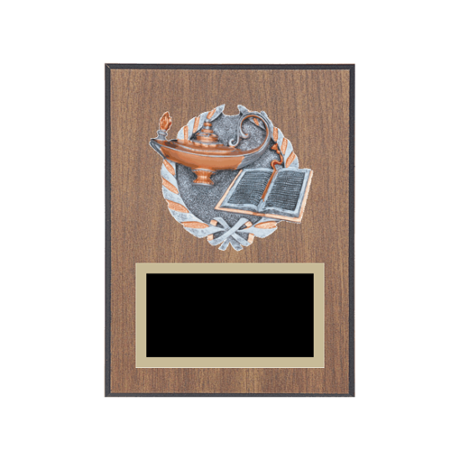 """6"""" x 8"""" Academic   Education Plaque with gold background plate, colored engraving plate and full color 3D resin Academic   Education medallion."""