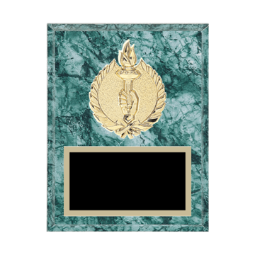 "7"" x 9"" Achievement Plaque with gold background plate, colored engraving plate and gold 3D Achievement medallion."