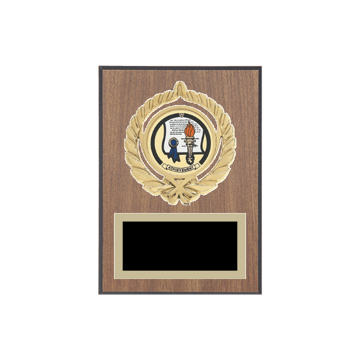 "5"" x 7"" Achievement Plaque with gold background plate, colored engraving plate, gold open wreath medallion holder and Achievement insert."