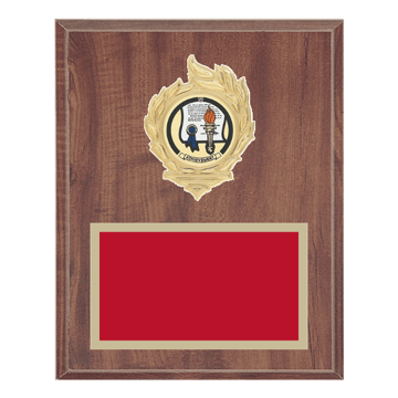 "8"" x 10"" Achievement Plaque with gold background, colored engraving plate, gold flame medallion holder and Achievement insert."