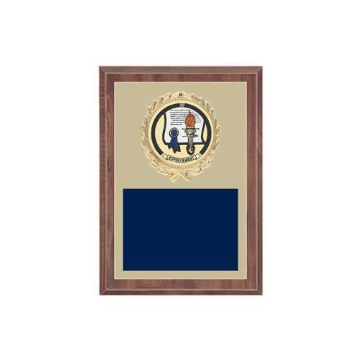"5"" x 7"" Achievement Plaque with gold background plate, colored engraving plate, gold wreath medallion and Achievement insert."