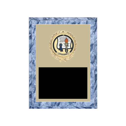 "6"" x 8"" Achievement Plaque with gold background plate, colored engraving plate, gold wreath medallion and Achievement insert."