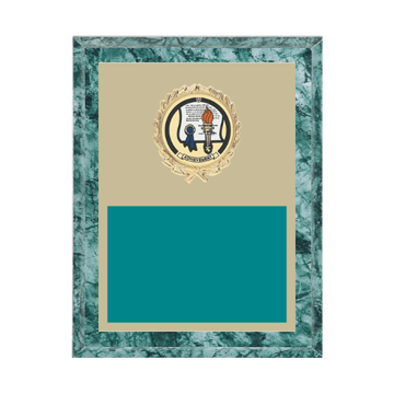 "7"" x 9"" Achievement Plaque with gold background plate, colored engraving plate, gold wreath medallion and Achievement insert."