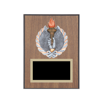 "6"" x 8"" Achievement Plaque with gold background plate, colored engraving plate and full color 3D resin Achievement medallion."