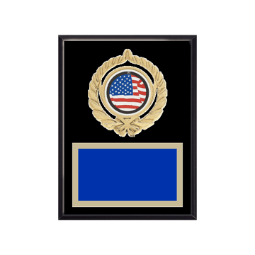 """6"""" x 8"""" American Flag   Patriotic Plaque with gold background plate, colored engraving plate, gold open wreath medallion holder and American Flag   Patriotic insert."""
