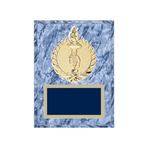 """6"""" x 8"""" Achievement Plaque with gold background plate, colored engraving plate and gold 3D Achievement medallion."""