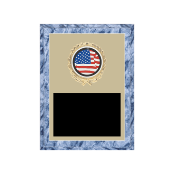"""6"""" x 8"""" American Flag   Patriotic Plaque with gold background plate, colored engraving plate, gold wreath medallion and American Flag   Patriotic insert."""