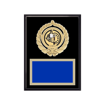 """6"""" x 8"""" Art Plaque with gold background plate, colored engraving plate, gold open wreath medallion holder and Art insert."""