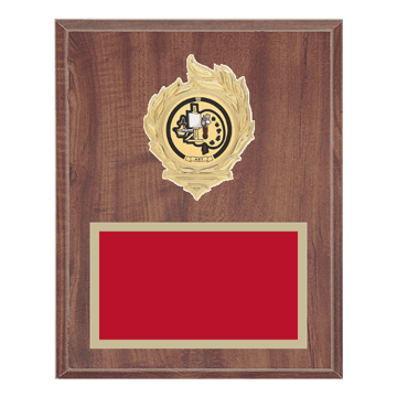 "8"" x 10"" Art Plaque with gold background, colored engraving plate, gold flame medallion holder and Art insert."