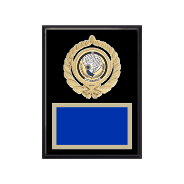 "6"" x 8"" Attendance Plaque with gold background plate, colored engraving plate, gold open wreath medallion holder and Attendance insert."