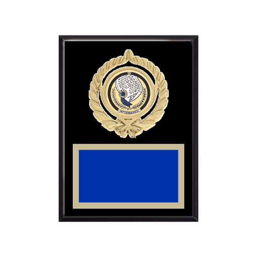 """6"""" x 8"""" Attendance Plaque with gold background plate, colored engraving plate, gold open wreath medallion holder and Attendance insert."""