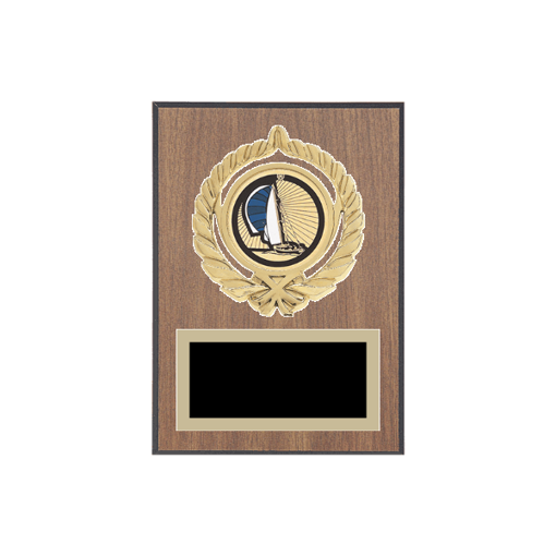 """5"""" x 7"""" Boating Plaque with gold background plate, colored engraving plate, gold open wreath medallion holder and Boating insert."""