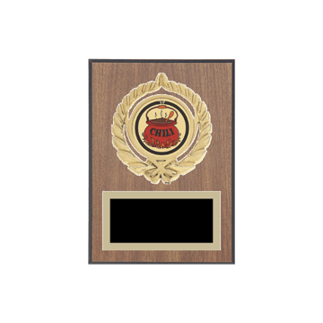 "5"" x 7"" Chili Cook-Off Plaque with gold background plate, colored engraving plate, gold open wreath medallion holder and Chili Cook-Off insert."