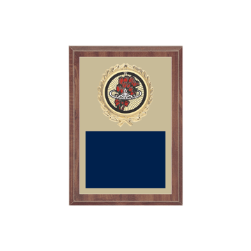 "5"" x 7"" Beauty Queen Plaque with gold background plate, colored engraving plate, gold wreath medallion and Beauty Queen insert."