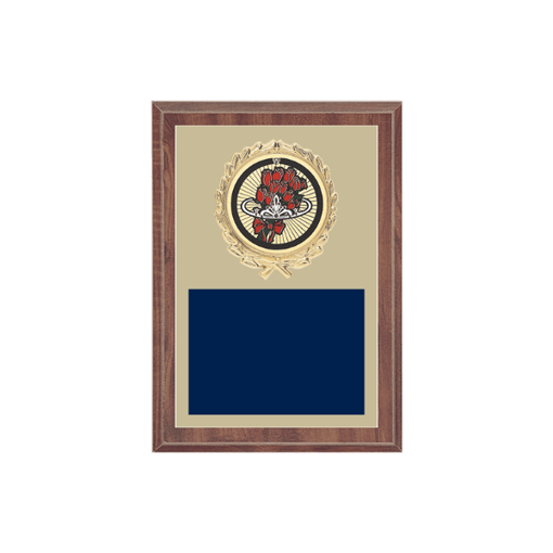 """5"""" x 7"""" Beauty Queen Plaque with gold background plate, colored engraving plate, gold wreath medallion and Beauty Queen insert."""