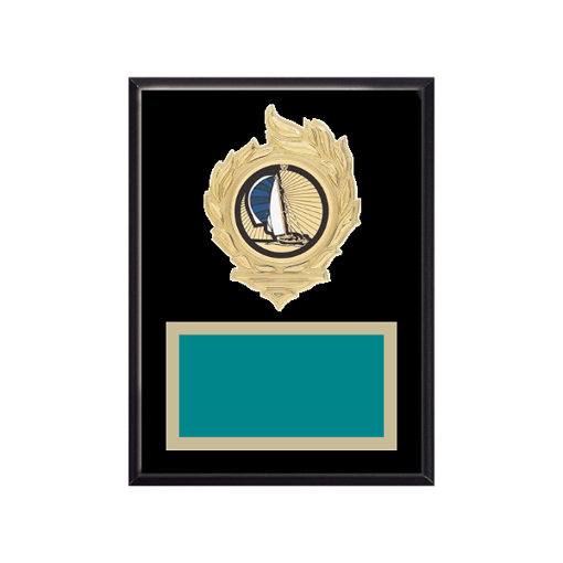 """6"""" x 8"""" Boating Plaque with gold background, colored engraving plate, gold flame medallion holder and Boating insert."""