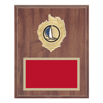 "8"" x 10"" Boating Plaque with gold background, colored engraving plate, gold flame medallion holder and Boating insert."