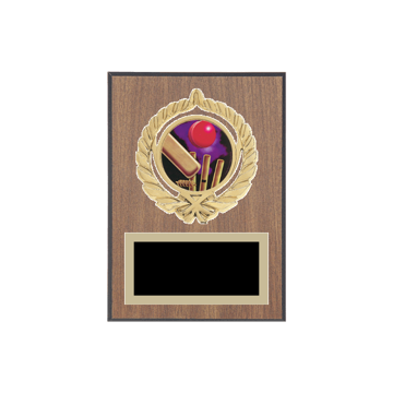 "5"" x 7"" Cricket Plaque with gold background plate, colored engraving plate, gold open wreath medallion holder and Cricket insert."