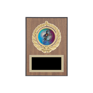 """5"""" x 7"""" Cycling Plaque with gold background plate, colored engraving plate, gold open wreath medallion holder and Cycling insert."""