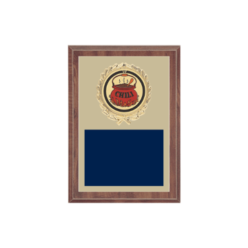 "5"" x 7"" Chili Cook-Off Plaque with gold background plate, colored engraving plate, gold wreath medallion and Chili Cook-Off insert."