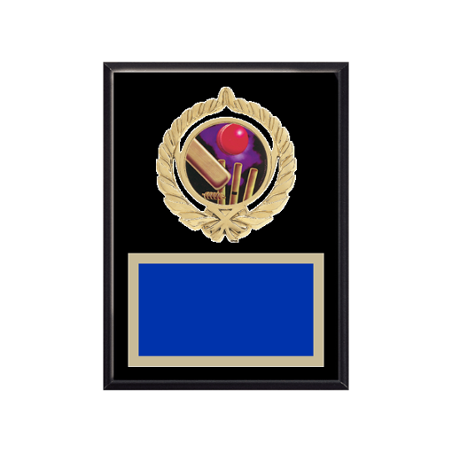 """6"""" x 8"""" Cricket Plaque with gold background plate, colored engraving plate, gold open wreath medallion holder and Cricket insert."""