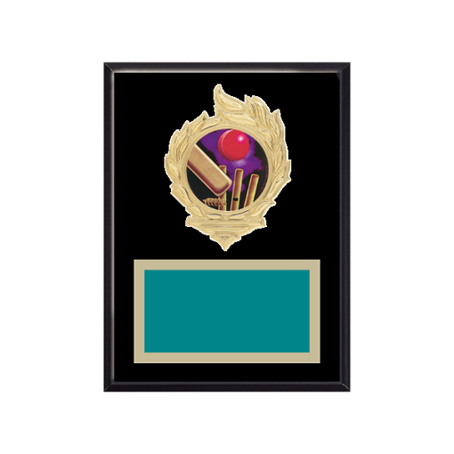 """6"""" x 8"""" Cricket Plaque with gold background, colored engraving plate, gold flame medallion holder and Cricket insert."""