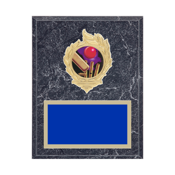 "7"" x 9"" Cricket Plaque with gold background, colored engraving plate, gold flame medallion holder and Cricket insert."