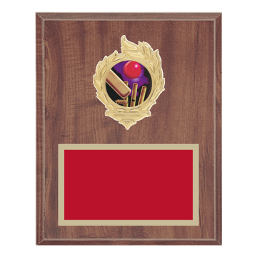 "8"" x 10"" Cricket Plaque with gold background, colored engraving plate, gold flame medallion holder and Cricket insert."