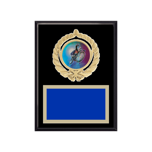 """6"""" x 8"""" Cycling Plaque with gold background plate, colored engraving plate, gold open wreath medallion holder and Cycling insert."""