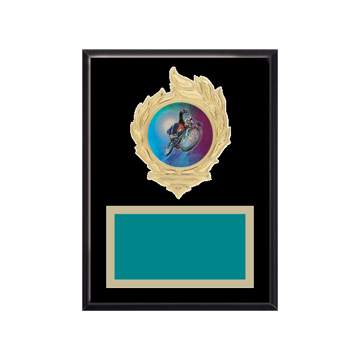 """6"""" x 8"""" Cycling Plaque with gold background, colored engraving plate, gold flame medallion holder and Cycling insert."""