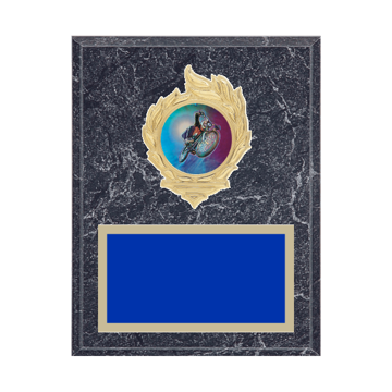 """7"""" x 9"""" Cycling Plaque with gold background, colored engraving plate, gold flame medallion holder and Cycling insert."""