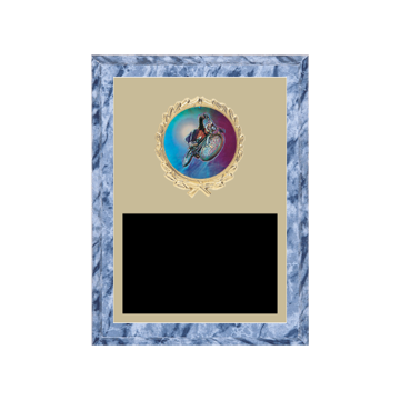 """6"""" x 8"""" Cycling Plaque with gold background plate, colored engraving plate, gold wreath medallion and Cycling insert."""