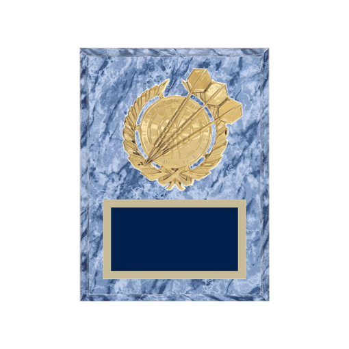 """6"""" x 8"""" Dart Plaque with gold background plate, colored engraving plate and gold 3D Dart medallion."""