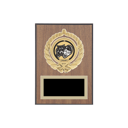 """5"""" x 7"""" Drama Plaque with gold background plate, colored engraving plate, gold open wreath medallion holder and Drama insert."""