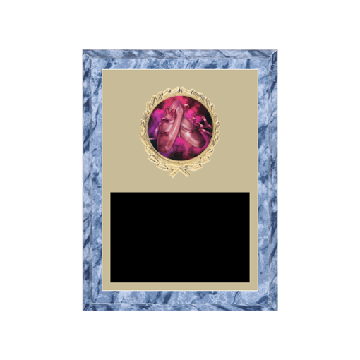 """6"""" x 8"""" Dance Plaque with gold background plate, colored engraving plate, gold wreath medallion and Dance insert."""