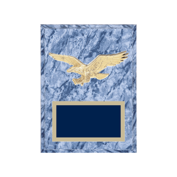 "6"" x 8"" Eagle Plaque with gold background plate, colored engraving plate and gold 3D Eagle medallion."