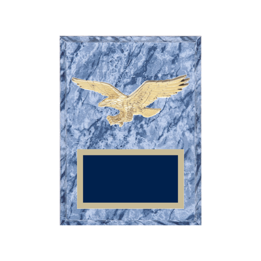 """6"""" x 8"""" Eagle Plaque with gold background plate, colored engraving plate and gold 3D Eagle medallion."""