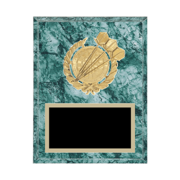"7"" x 9"" Dart Plaque with gold background plate, colored engraving plate and gold 3D Dart medallion."
