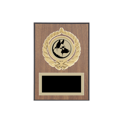 """5"""" x 7"""" Firefighting   Police Plaque with gold background plate, colored engraving plate, gold open wreath medallion holder and Firefighting   Police insert."""