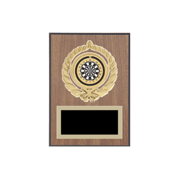 "5"" x 7"" Dart Plaque with gold background plate, colored engraving plate, gold open wreath medallion holder and Dart insert."