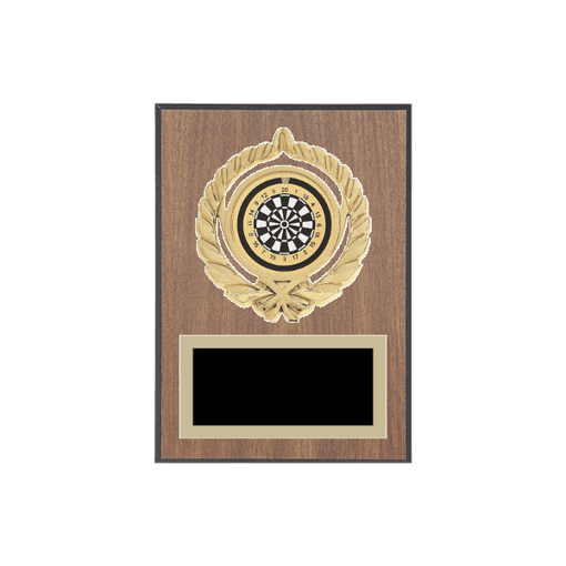"""5"""" x 7"""" Dart Plaque with gold background plate, colored engraving plate, gold open wreath medallion holder and Dart insert."""
