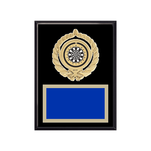"""6"""" x 8"""" Dart Plaque with gold background plate, colored engraving plate, gold open wreath medallion holder and Dart insert."""