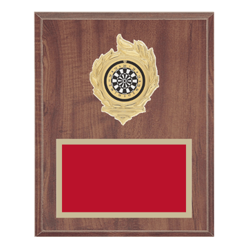 "8"" x 10"" Dart Plaque with gold background, colored engraving plate, gold flame medallion holder and Dart insert."